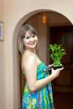 Girl with lucky bamboo stock photography