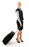 Girl with luggage Stock Images