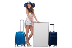 A girl with luggage isolated on white Royalty Free Stock Images