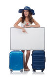 A girl with luggage isolated on white Stock Images