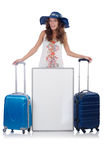 A girl with luggage isolated on white Stock Image