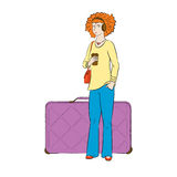 Girl with luggage waits for the departure. Young girl in headphones standing by her suitcase and drinking coffee Royalty Free Stock Images