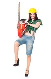 Girl lumberjack Royalty Free Stock Photography