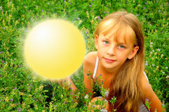 Girl with luminous round Royalty Free Stock Image