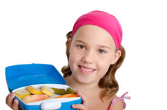 Girl with a lunch box Royalty Free Stock Photography