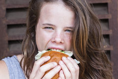 Girl Lunch Sandwich Royalty Free Stock Photos