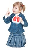 Girl with lungs. Little girl with lungs in hand royalty free stock photos