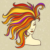 Girl with luxuriant hair. Beautiful girl with luxuriant hair stock illustration
