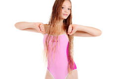 Girl with luxurious hair in pink swimming suit Royalty Free Stock Photography