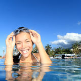 Girl in luxury resort swimming pool. Woman smiling in swimming pool in luxury resort. Young smiling woman model with swimming goggles looking happy at camera