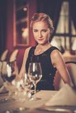 Girl in a luxury restaurant Royalty Free Stock Photo