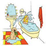 Girl lying in the bath under running water, The dog is holding in his teeth Slippers. Vector illustration. Stock Photo