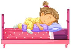 Girl lying on bed. Illustration stock illustration