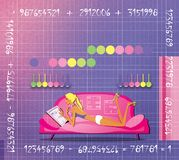 The girl is lying on the couch surrounded by mathematical tables. Numerology. Fortunetelling.  vector illustration