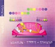 Girl is lying on the couch surrounded by mathematical tables. Numerology. Fortunetelling.  stock illustration