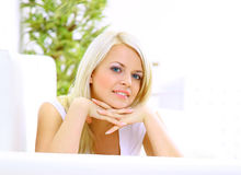 Girl Lying Down On Divan And Thinking Stock Image