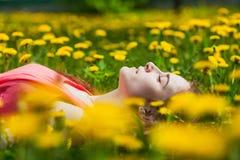 Girl lying on the field of dandelions Stock Photo