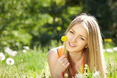 Girl lying on the field of dandelions Stock Photography
