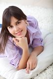 Girl lying on the floor Royalty Free Stock Photography
