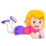 Girl Lying on the floor. Illustration of girl Lying on the floor Royalty Free Stock Photos