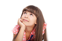 Girl lying on the floor looking up Royalty Free Stock Image