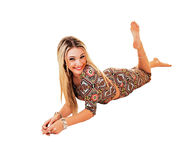 Girl lying on floor. Royalty Free Stock Photography