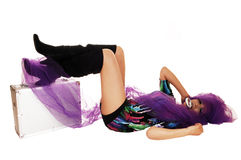 Girl lying on floor. Royalty Free Stock Photo