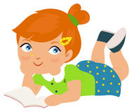 Girl lying in the floor and reading royalty free illustration