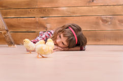 Girl lying on floor and watching for chickens Stock Photos