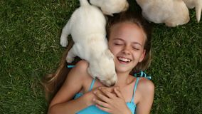 Girl lying in the grass with by her labrador puppy dogs