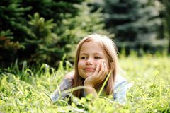 Portrait of    girl in   summer day Royalty Free Stock Photography