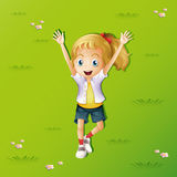 Girl lying on grass with two hands up. Illustration royalty free illustration