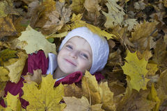 Girl Lying In Leaves At Park Stock Photography