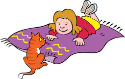 Girl lying on a mat with her cat. A cartoon little girl lying on a mat with her cat Stock Photo