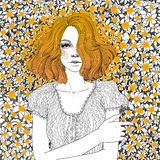 The girl is lying on a meadow of dandelions. Vector beautiful red-haired young girl lies on a meadow of sunny carroty and the same red orange dandelions royalty free illustration