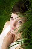 Girl Lying On The Grass Royalty Free Stock Photography