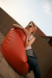 Girl lying on the side. Looking away Royalty Free Stock Photos