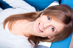 Girl lying and smiling Royalty Free Stock Photo