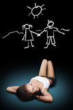 Girl lying thinking. About love looking at dark stock image