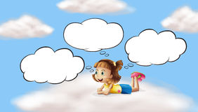 A girl lying and thinking in the sky Royalty Free Stock Images