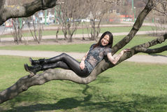 Girl lying on a tree branch Stock Photos