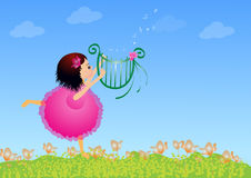 Girl with lyre. Beautiful little girl playing lyre Royalty Free Stock Photos