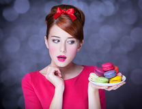 Girl with macaron Royalty Free Stock Photography