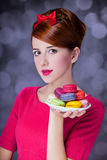 Girl with macaron Royalty Free Stock Photo