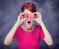 Girl with macaron Stock Image