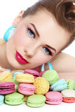 Girl with macaroons Stock Image