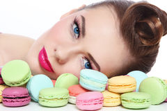 Girl with macaroons Stock Images