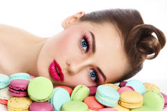 Girl with macaroons Stock Photos