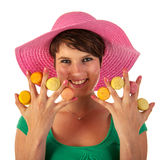 Girl with macaroons Stock Photos