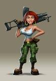 Girl with a machine gun Royalty Free Stock Photos